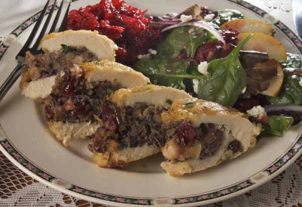 Chicken Breast Stuffed with Wild Rice and Cranberry Stuffing