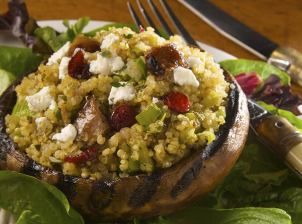 Grilled Portabella Mushrooms Stuffed with Cranberry and Sausage Stuffing